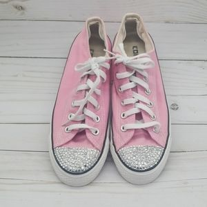 Converse pink with bling